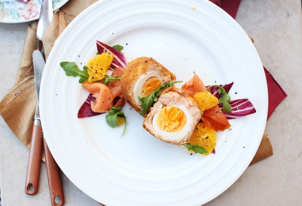 Smoked Salmon Scotch Eggs with Orange Radicchio Salad - Sugar et al