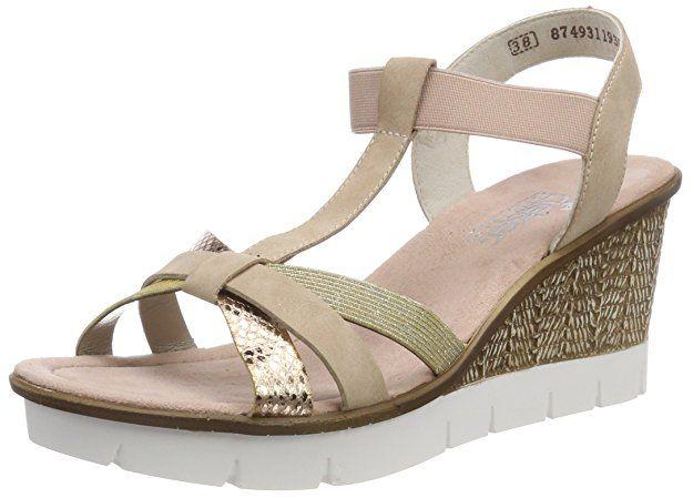 Rieker Damen 65590 Plateausandalen Mehrfarbig Kupfer Altrosa Lightgold 36 Eu Schuhe Damen Schuhe Aufbewah Schuhe Damen Sommer Plattform Sandalen
