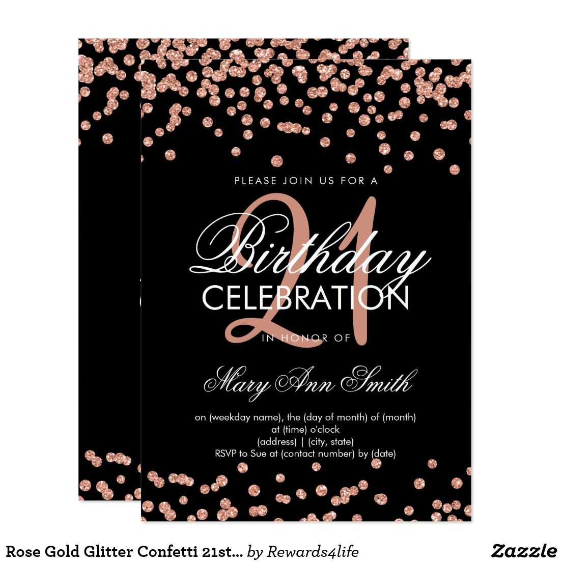 rose gold glitter confetti 21st