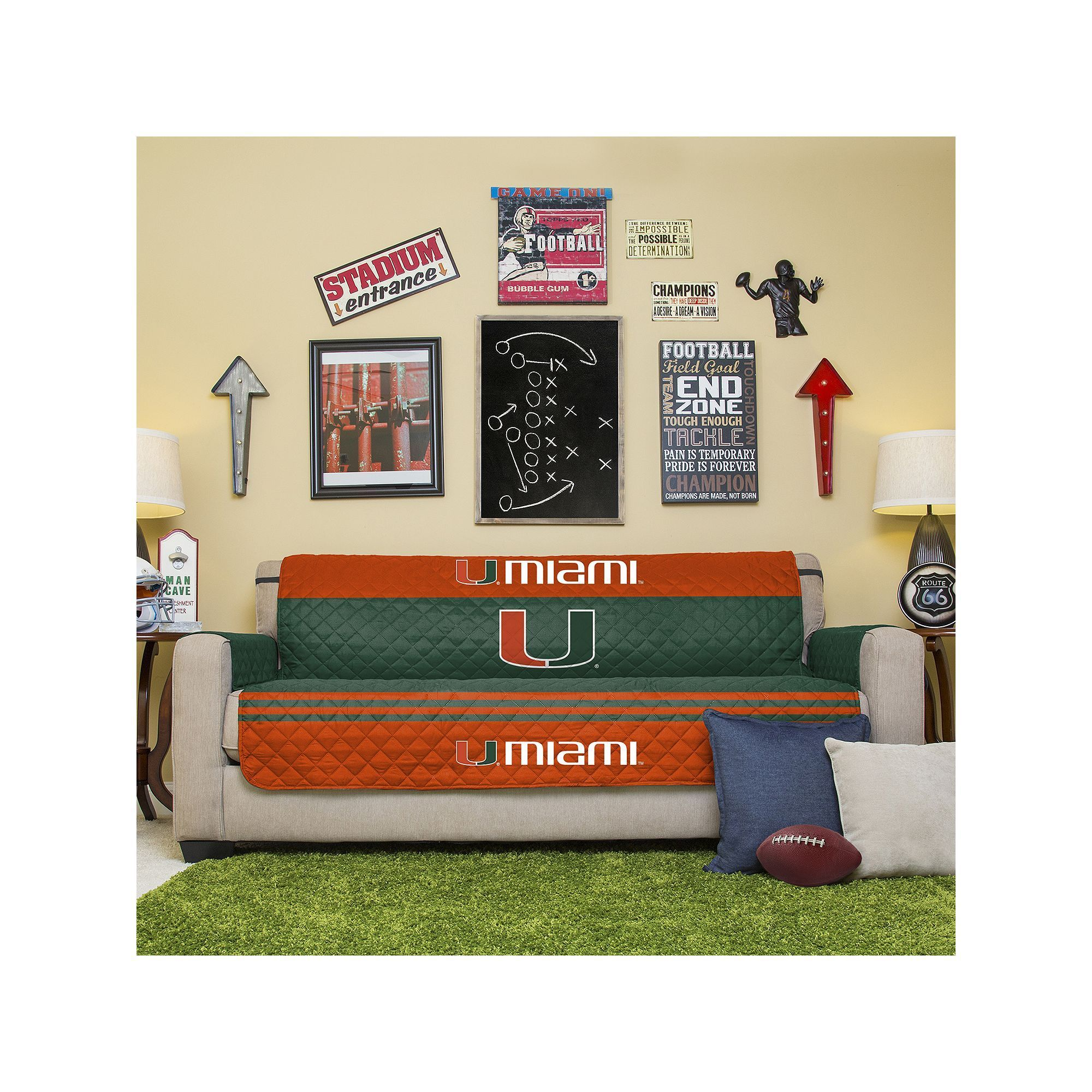 Miami Hurricanes Quilted Sofa Cover Green Products