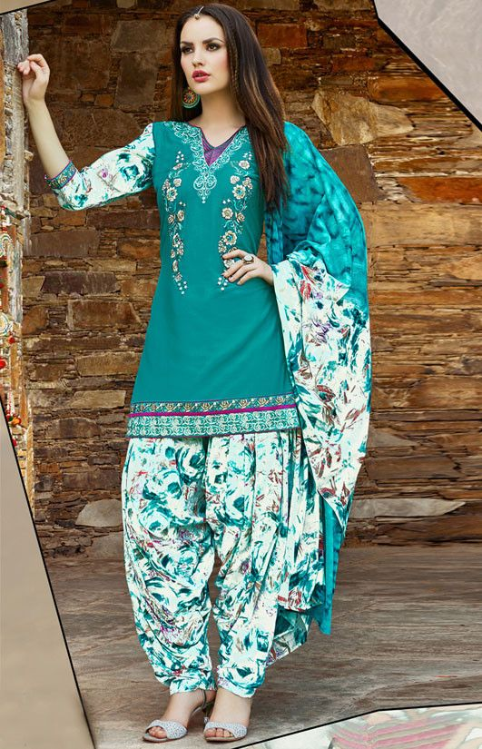 db5bf67c56 Teal Green and Off White Readymade Patiala Suit - Women | Patiyala ...