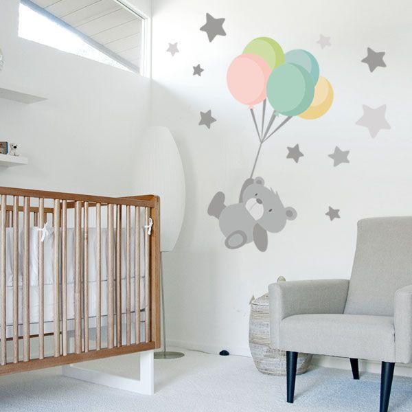 Vinilo bebé Tierno osito con globos | Niños | Baby bedroom ...