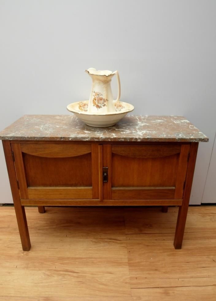 Details About Vintage Antique Timber Marble Wash Stand Hall