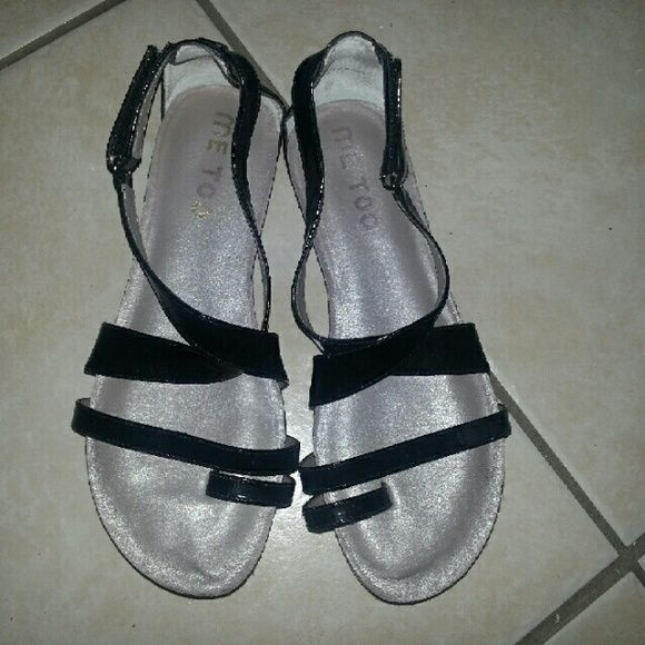 Black Patent Leather Sandal by Me Too I used these sandals only a few times but still managed to scrape the back of one. They need some cleaning but other than that super comfy and in good condition. me too Shoes Sandals
