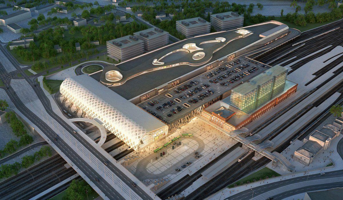 Integrated Transportation Center And Poznan City Center Concept Design Retail Facade Poznan Architecture Model