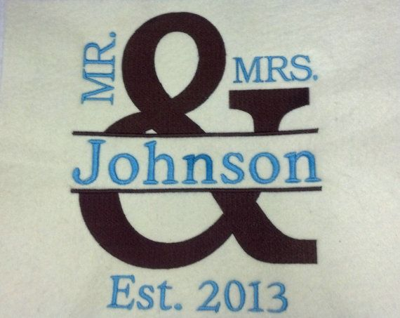 Mr Mrs Personalized Embroidered Wedding Throw Blanket On Etsy 35 99