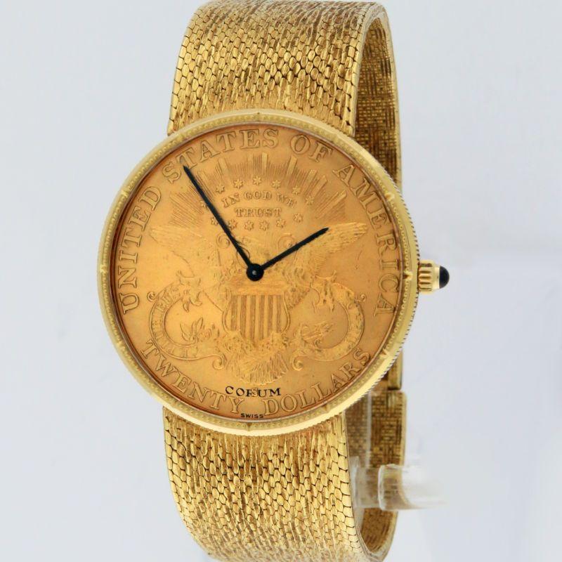 7a868dd726f4 Corum Twenty Dollars  20 Gold Coin Watch 18K Gold Mechanical 34.5mm Serviced