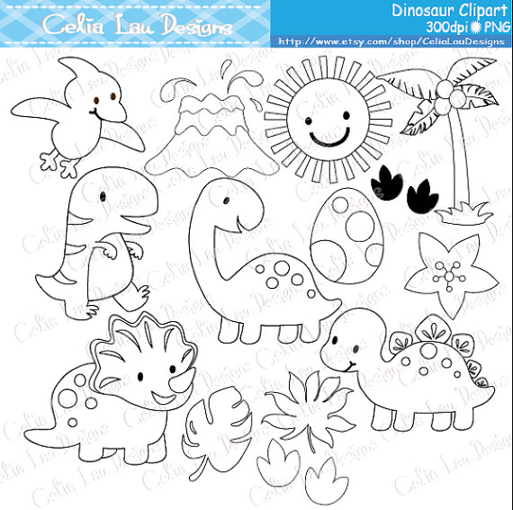 Dinosaur Digital Clipart / Cute Dinosaur Clip Art / Dinosaur Party / Black and White Outline / Digital Stamp / INSTANT DOWNLOAD(A024) #dinosaur
