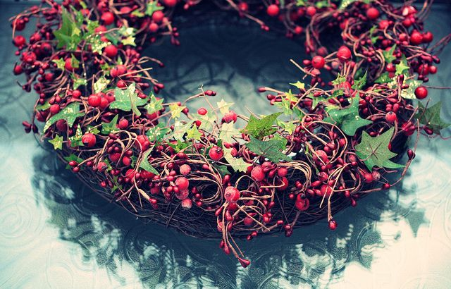 holly wreath centerpiece
