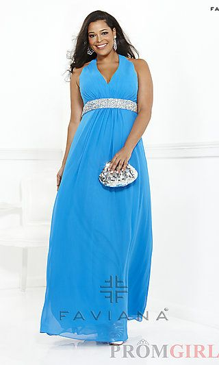 Long V-Neck Halter Plus Size Gown