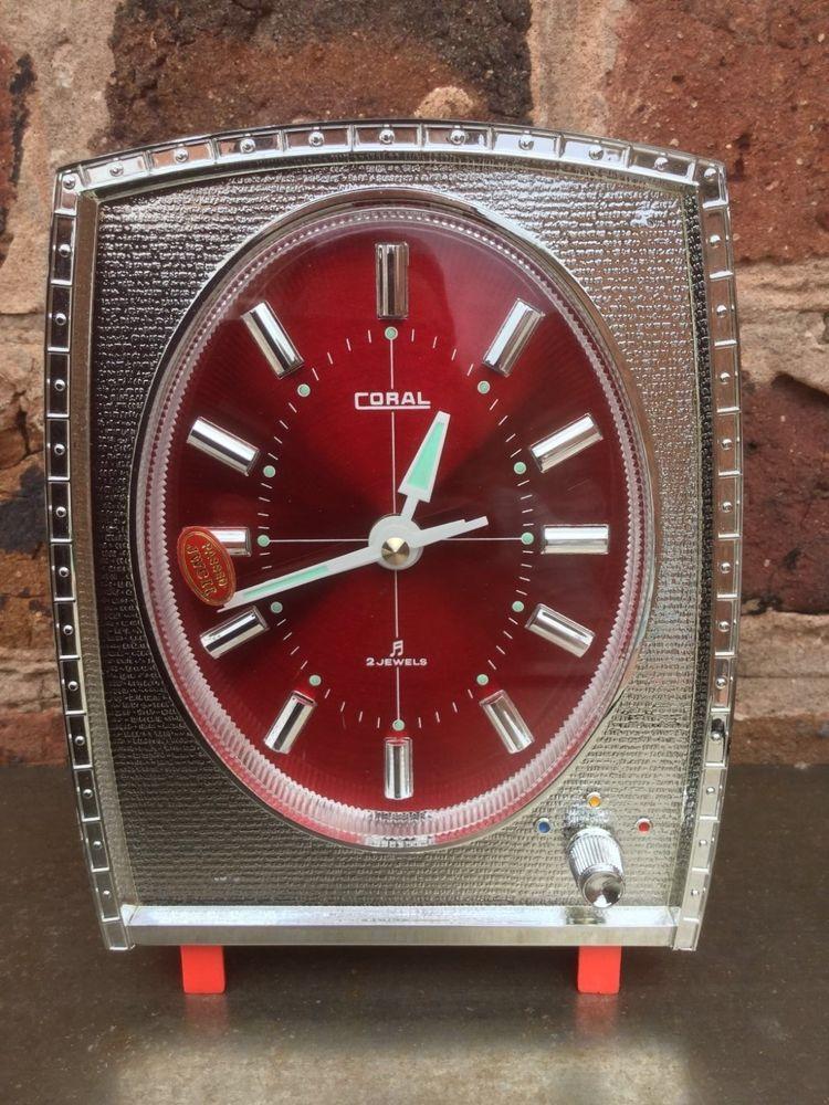 Vintage Retro 1970s Red Chrome Musical Alarm Clock Coral Japan