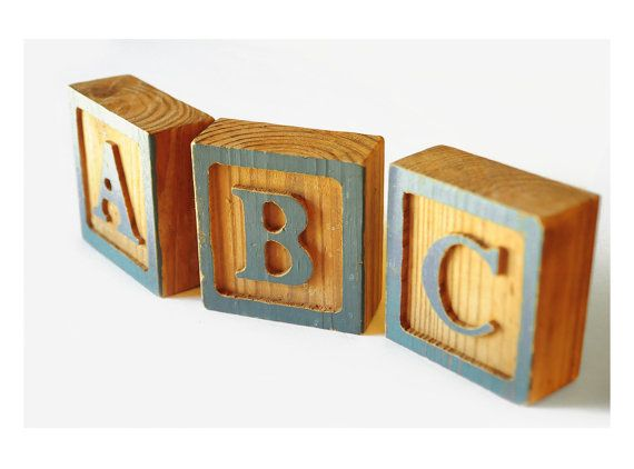"wood letter blocks, 4"", hand made alphabet toy, large, baby blue, nursery decor, cottage chic, a pretty display $12"