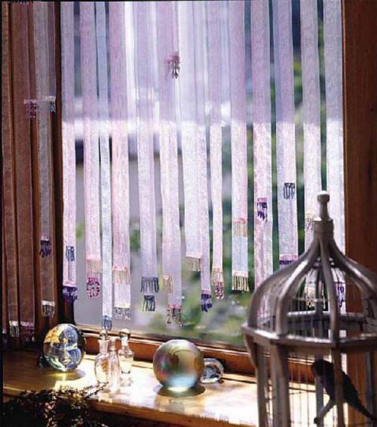 Garden window coverings  elegant ribbon window treatment  window treatments  pinterest
