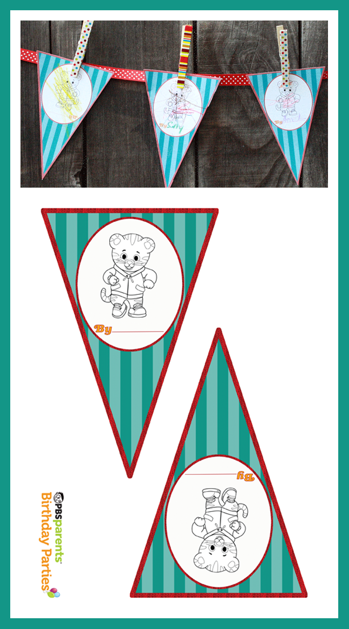 Daniel Tiger Party Printable: Pennant Coloring Page . PBS Parents ...