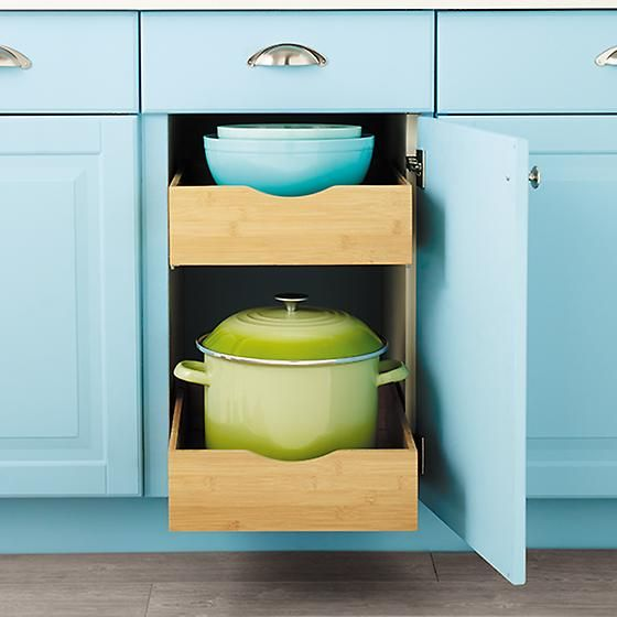 Bamboo Roll-Out Cabinet Drawers | Update kitchen cabinets ...