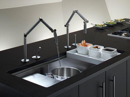 kitchen sink with articulating faucet