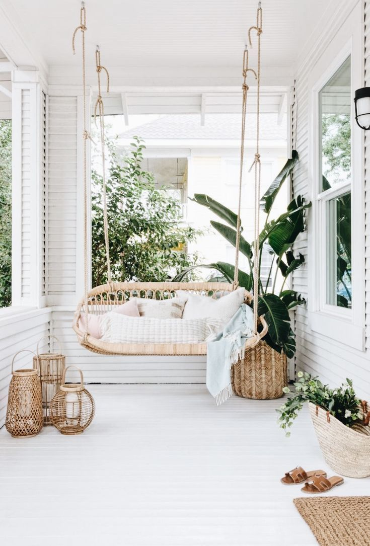 Patio swing. Boho style.