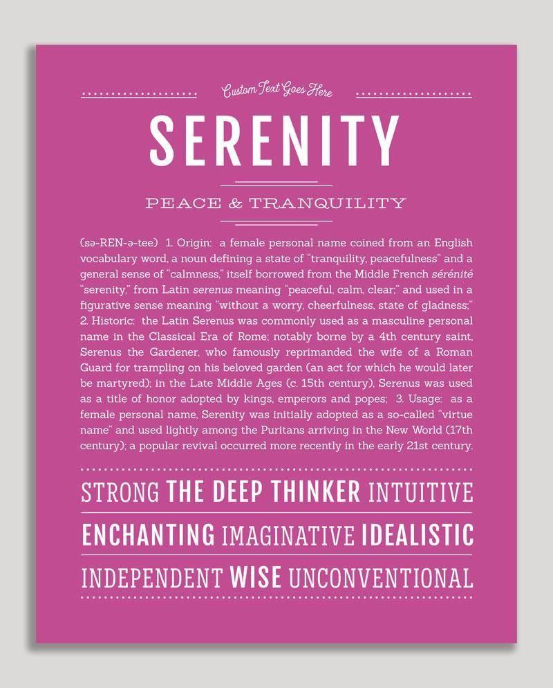 Serenity   Classic Name Print   Classic names ...