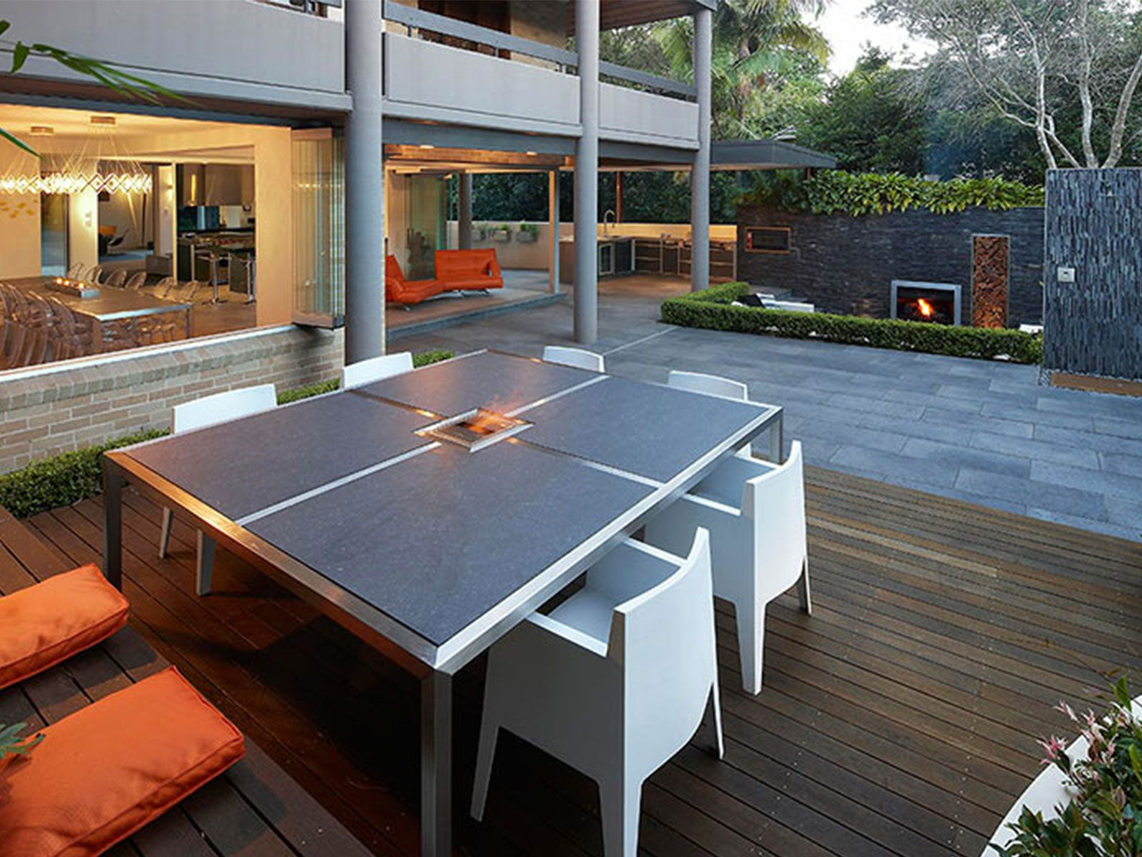 Lounge in built dining table with wooden bench Outdoor