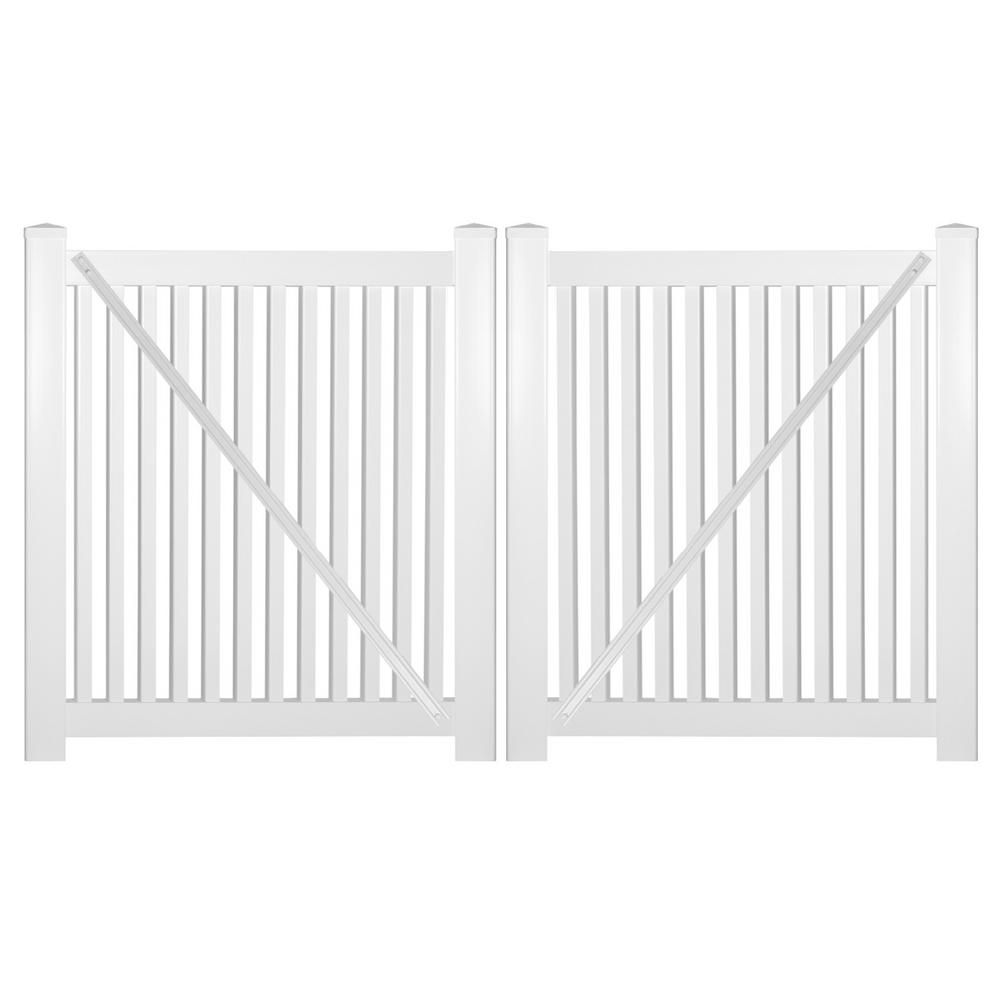 Weatherables Williamsport 10 Ft W X 4 Ft H White Vinyl Pool Fence Double Gate Kit Includes Gate Hardware In 2020 Vinyl Pool White Vinyl Pool Fence