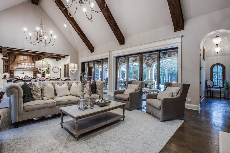 Light airy double height living room kitchen family room