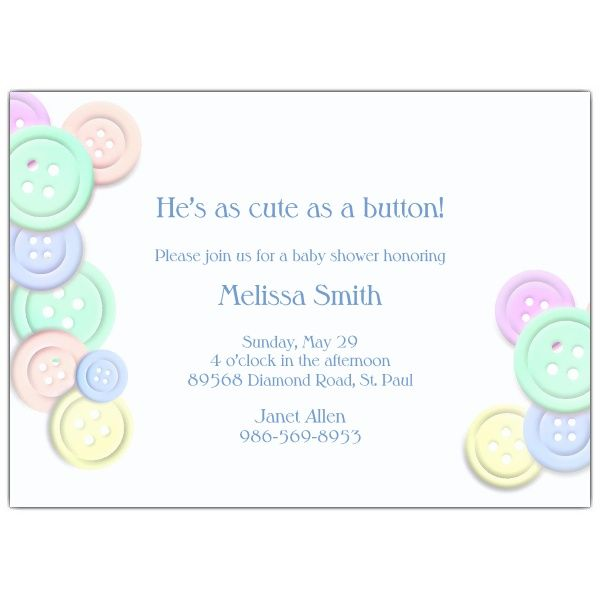 Free FREE Template Cute as Button Baby Shower Invitation Baby - free templates baby shower invitations