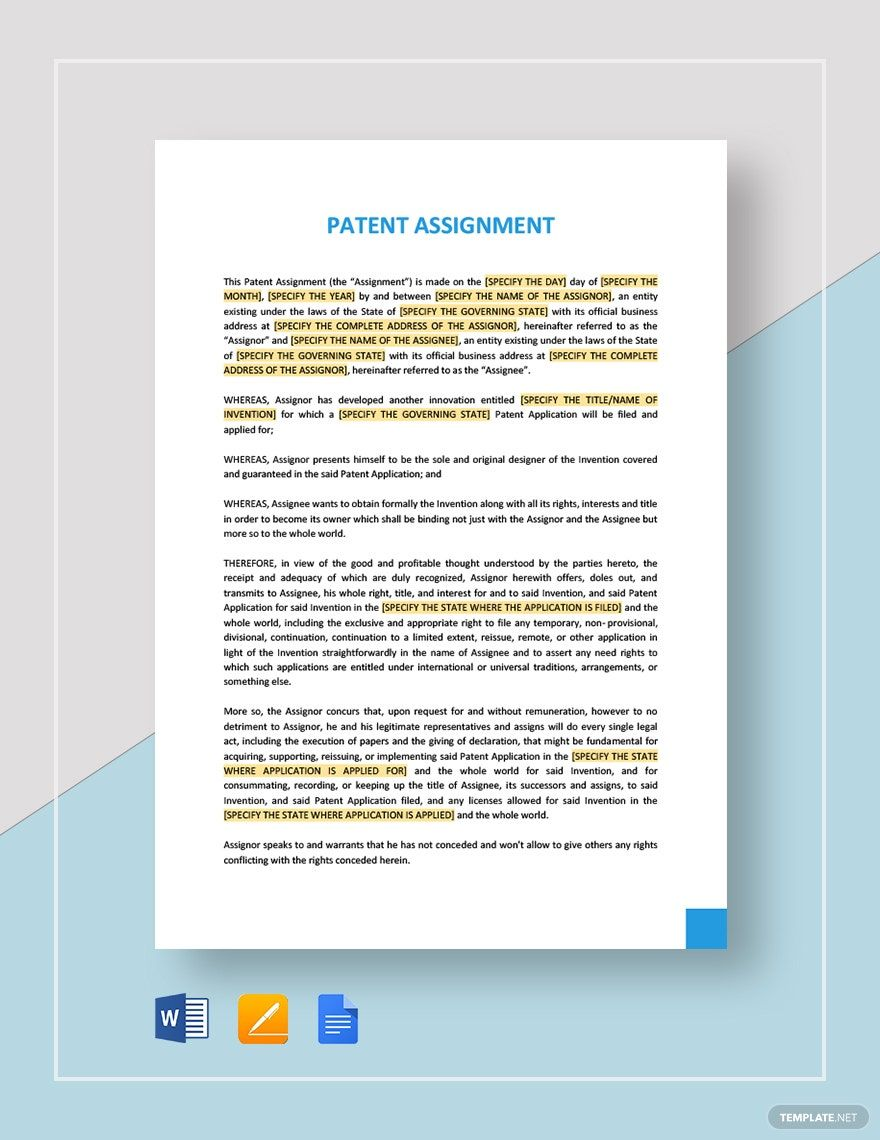 Patent Assignment Template in 2020 Templates