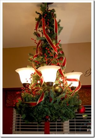A fun holiday idea of how to dress up your chandelier!