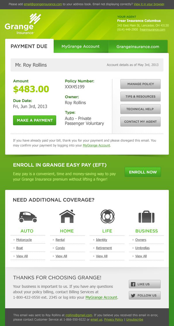 Grange Insurance Email Newsletter Email Templates Edm