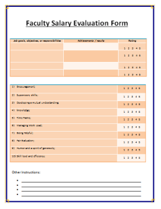 Salary Evaluation Form Template  Salary Doc    Template