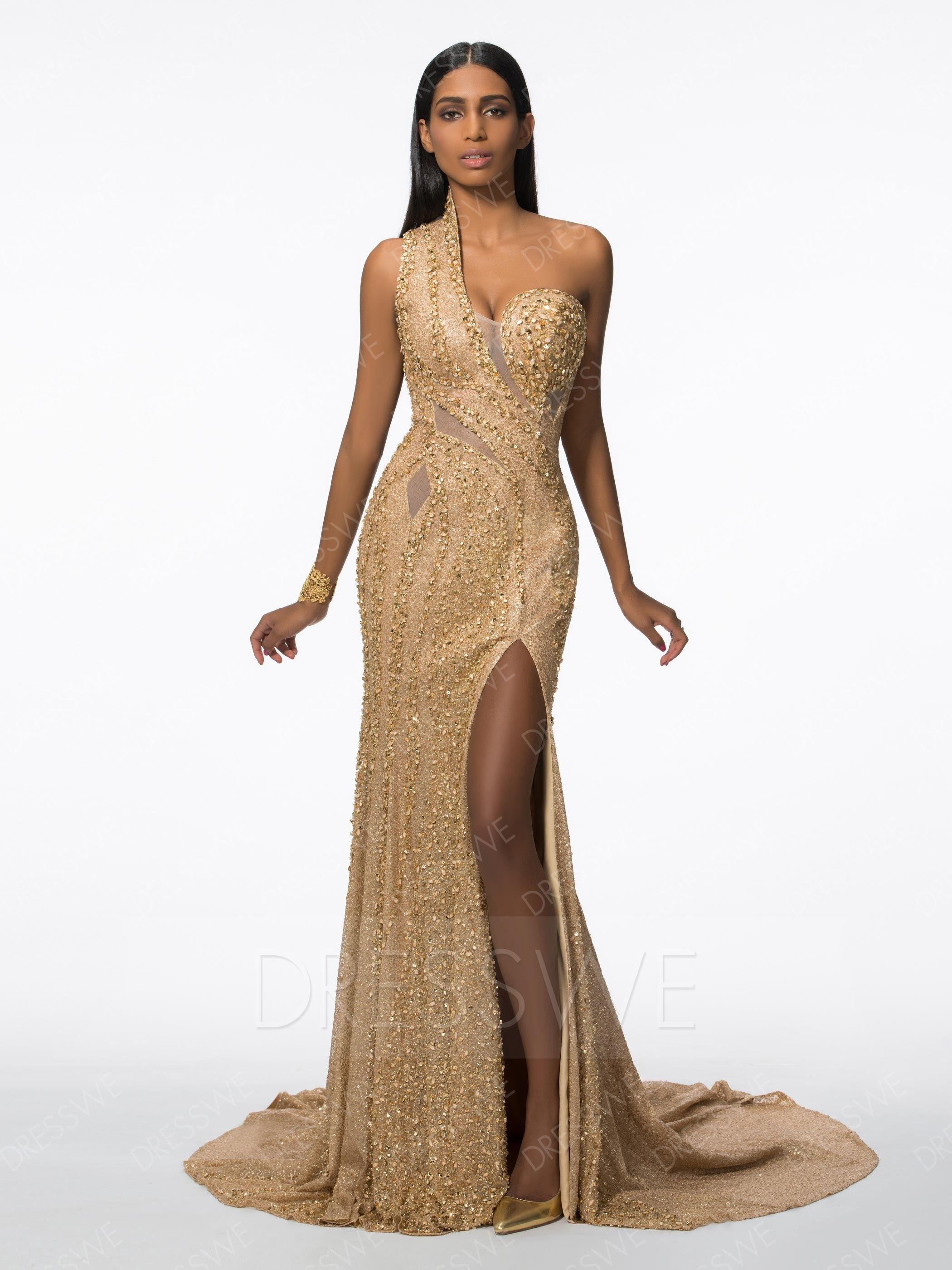 90a943d92 Sequined Gorgeous Beading Sequins One Shoulder Neck Mermaid Floor Length  Split-front Evening Dress