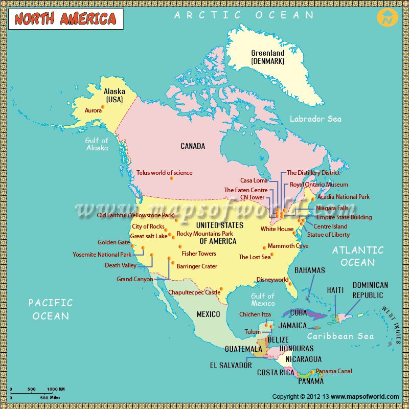 North America Map for kids depicts rivers, lakes, oceans ...