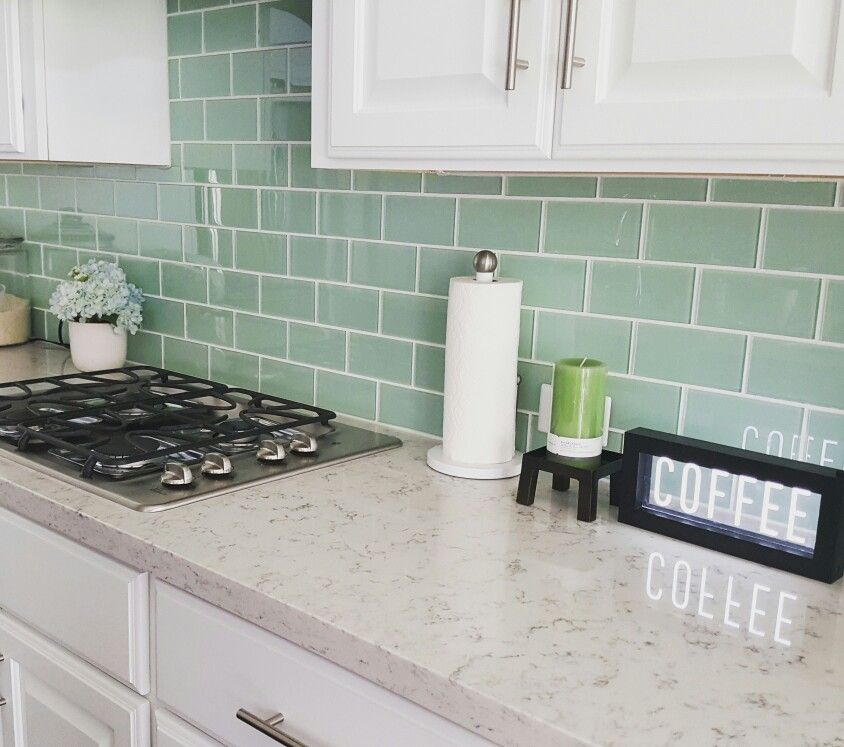Green Kitchen Backsplash: Subway Tile In Seaglass Green Backsplash With White Grout