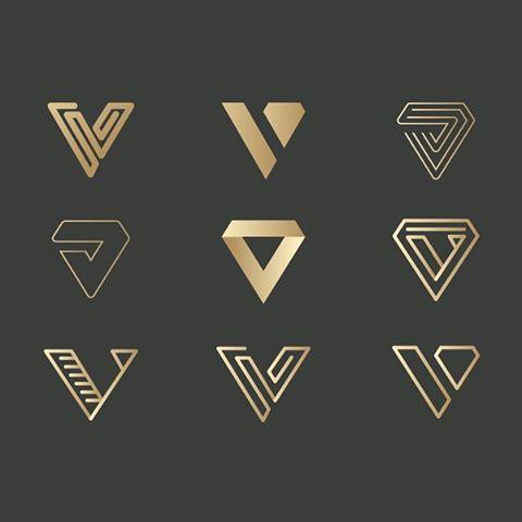 V Letter Type Symbol Monogram Logo Design Variation For Branding