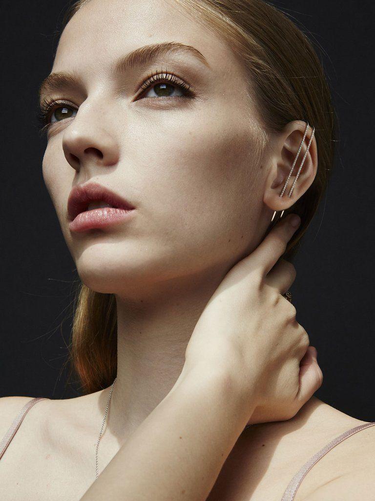 Photo of Diamond Thread Ear Pin | 18K Yellow Gold