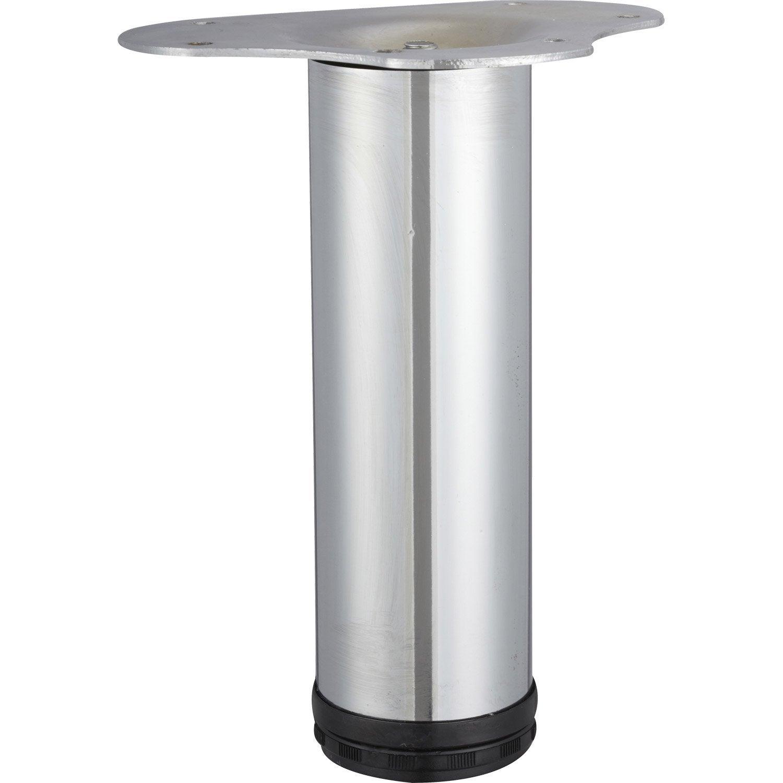table cylindrique réglable acier de gris Pied chromé basse OlPZkuwXiT