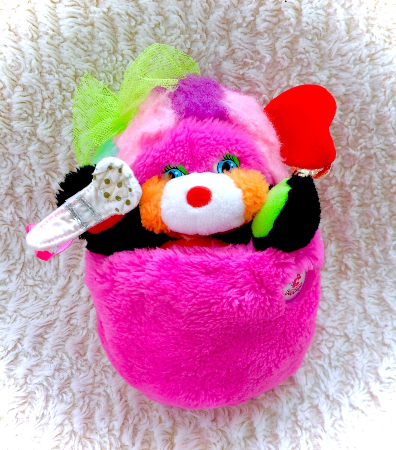 "Popples Vintage 1986 RARE Pink Punkity Rock Star Rocker Microphone Plush Plushie Stuffed Animal 12"" Cute HTF VTG 80s Retro Mattel Punk Music by KawaiiKel on Etsy https://www.etsy.com/listing/267671216/popples-vintage-1986-rare-pink-punkity"