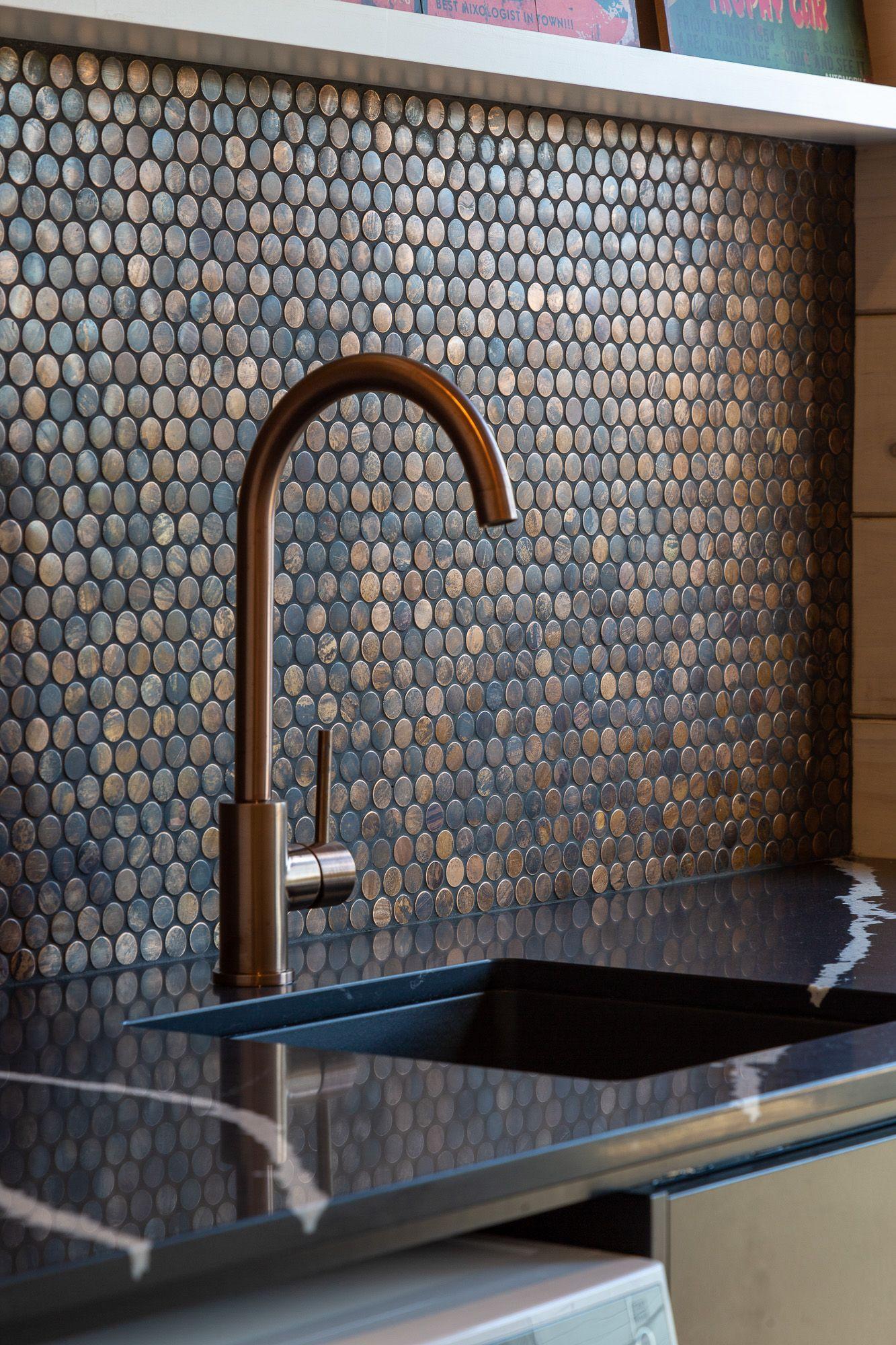 Copper Penny Tile Splashback Idea In 2020 Copper Splashback Kitchen Kitchen Splashback Tiles Kitchen Splashback