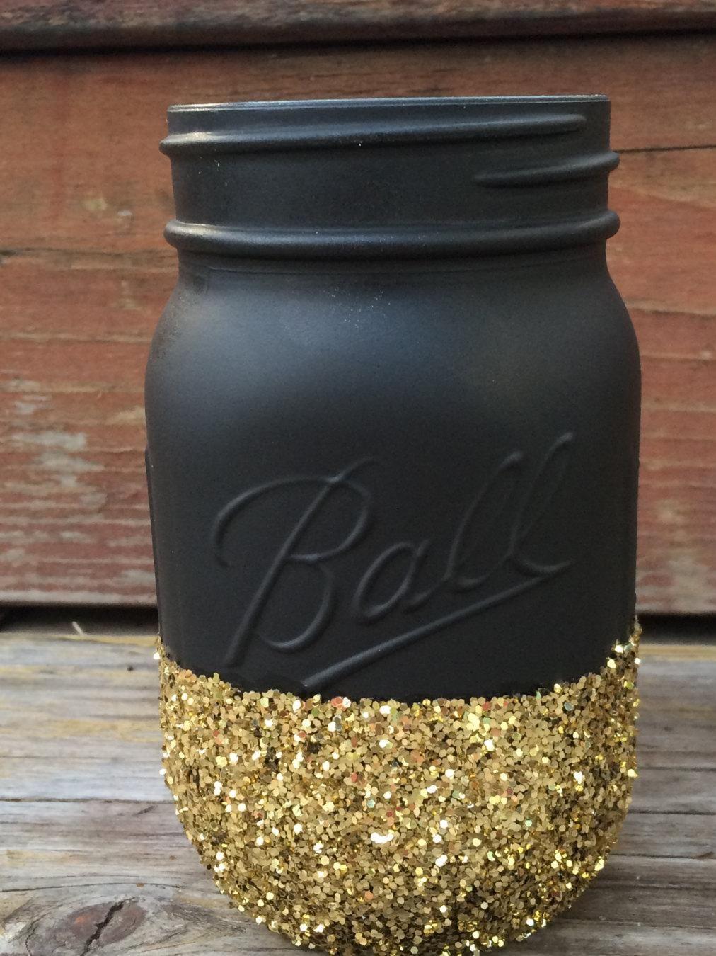 Black gold glitter mason jar perfect for makeup