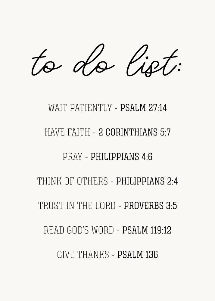 Christian to do list: