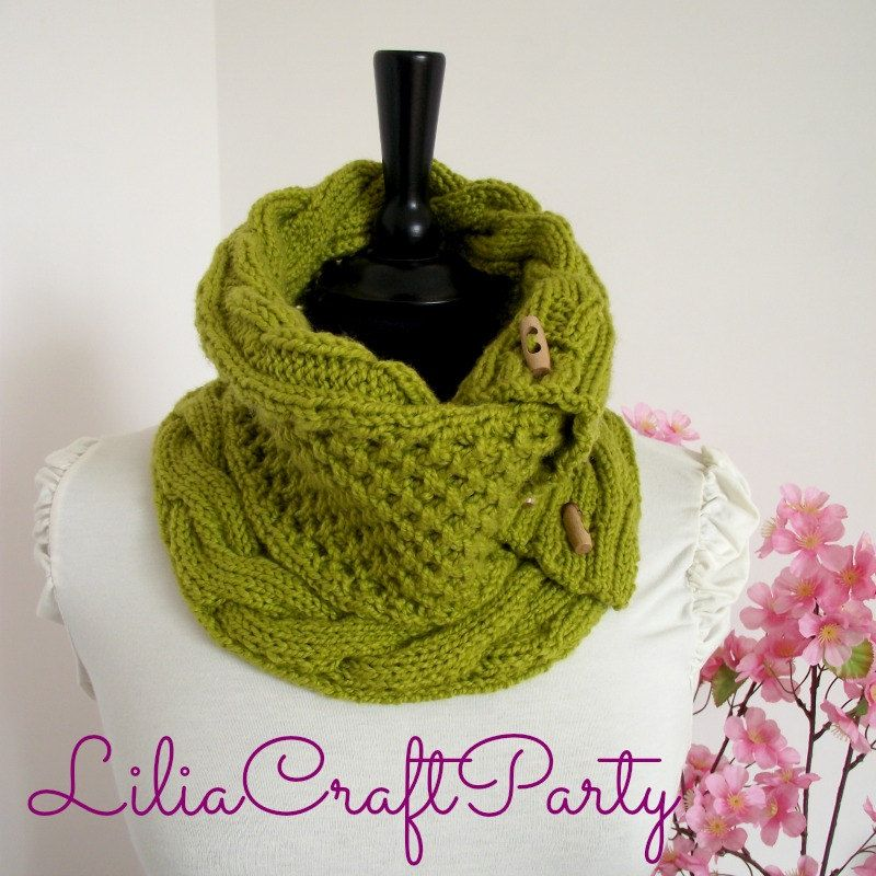 KNITTING PATTERN COWL Alice Cowl Pattern - Scarf Cowl with Buttons ...