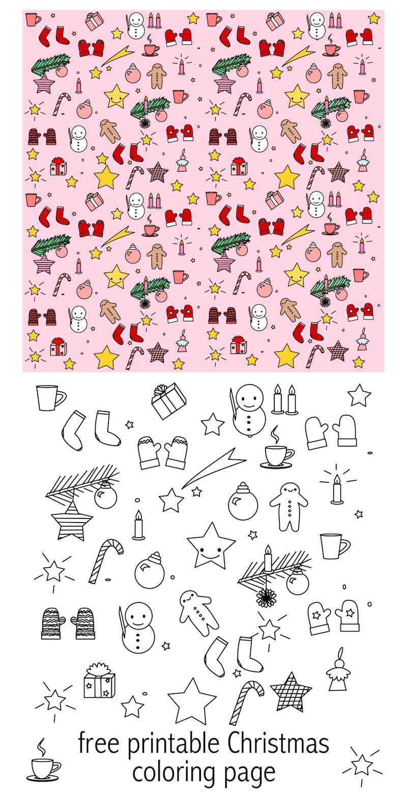 free printable christmas coloring page colored kawaii paper