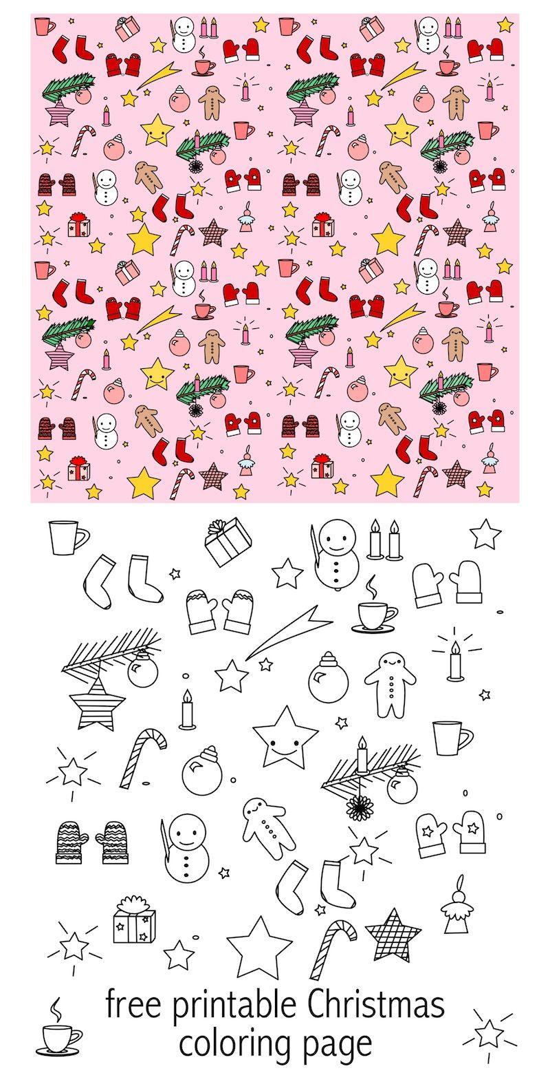 free printable christmas coloring page colored kawaii paper