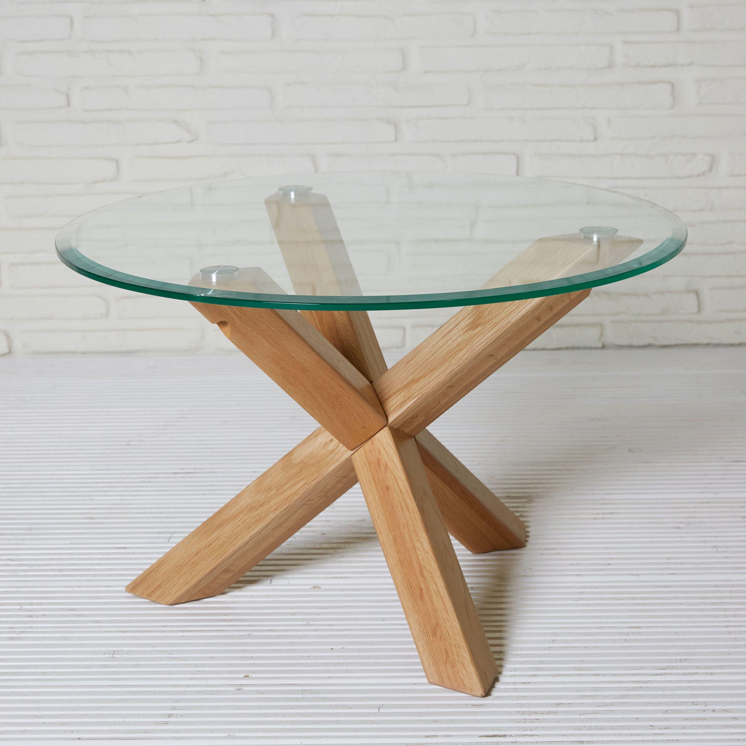 Couchtisch Rund 70cm Eichenholz Und Glasplatte Couchtisch Tisch