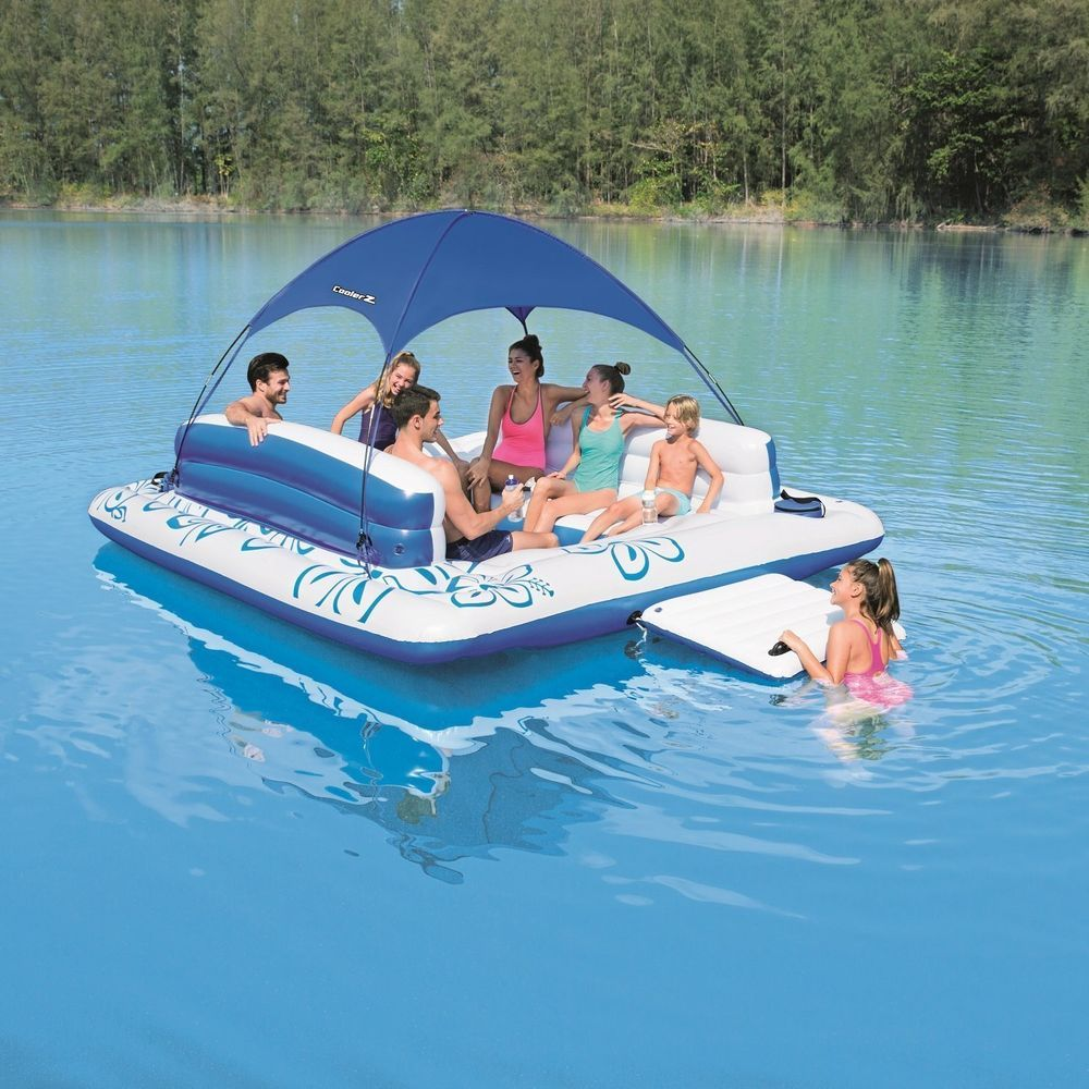 Floating Island Inflatable Pool Raft Lake Water Float Lounge River Summer Cooler Home Garden Yard Garden Outdoor Living Pools Spas Ebay