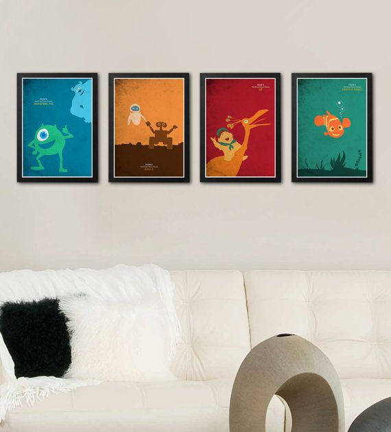 Disney Pixar's Poster Set / Monsters Inc WallE Up by onlyarts, $42.90