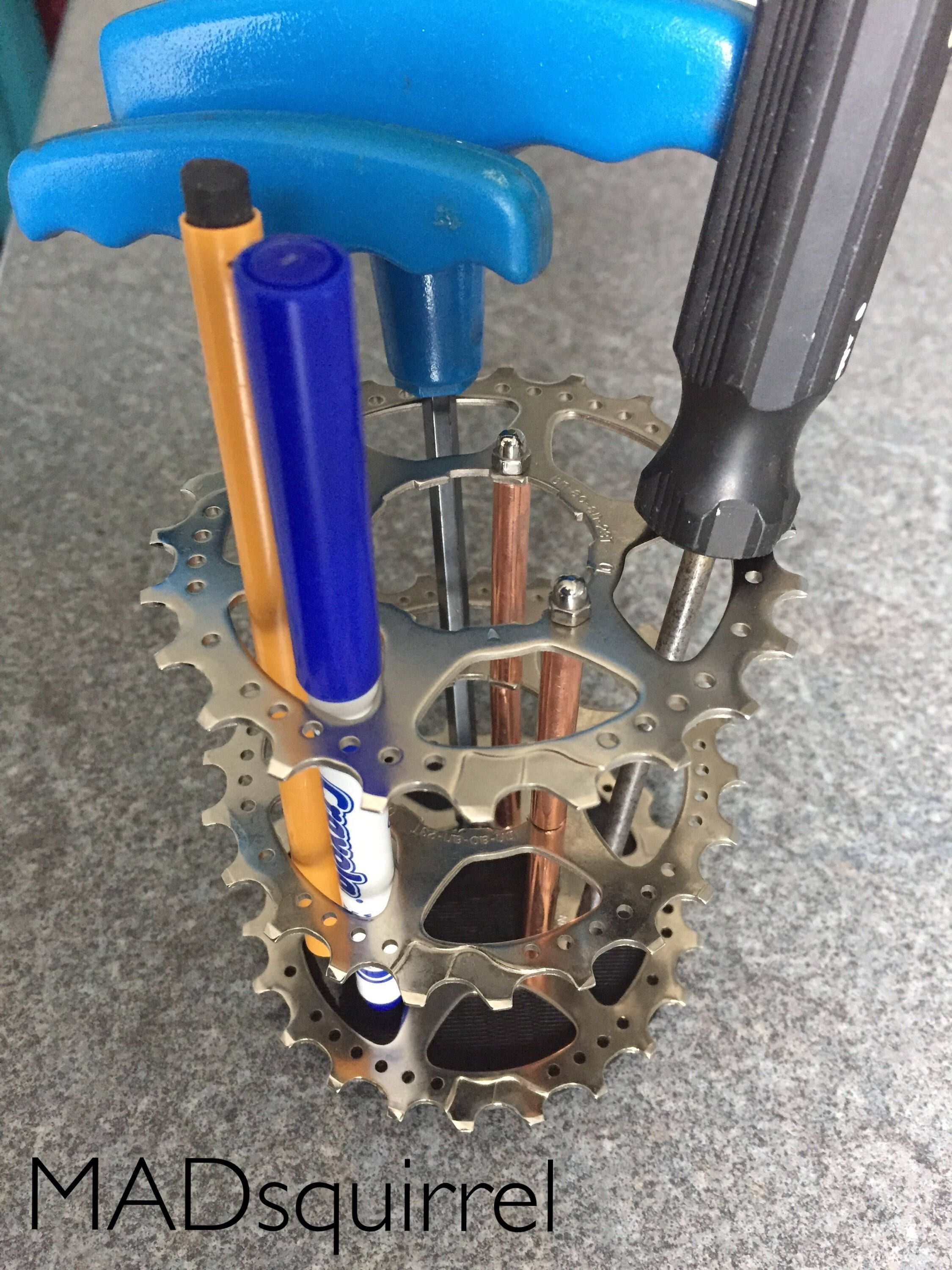 Triple Bicycle Sprocket Silver And Copper Tube Pen Brush Or Tool