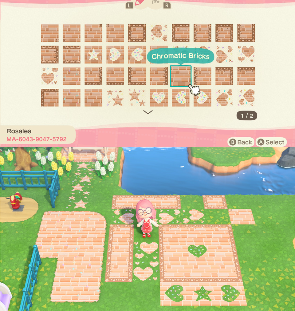 Rosa S Chromatic Paths Updated Brick Designs New Star Designs Better Border Corners Acqr In 2020 Animal Crossing Game Animal Crossing New Animal Crossing