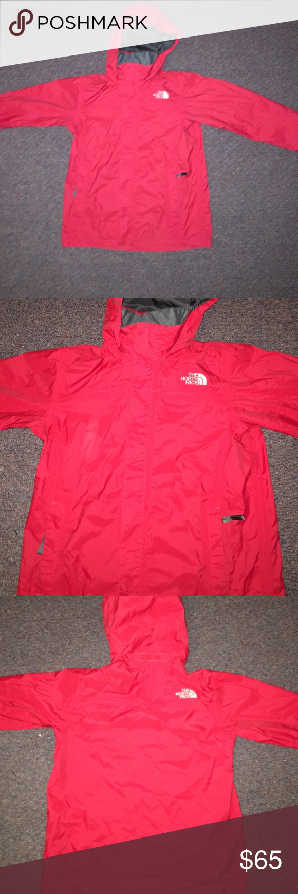 Rain coat This is a boys large but fits like a women's small. Hood folds in to the collar. The North Face Jackets & Coats