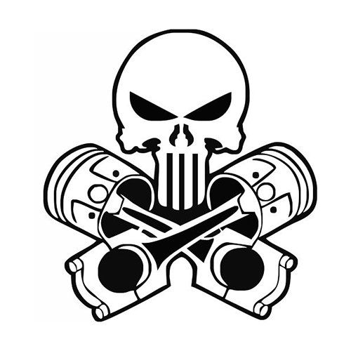 Punisher pistons skull die cut vinyl decal pv247